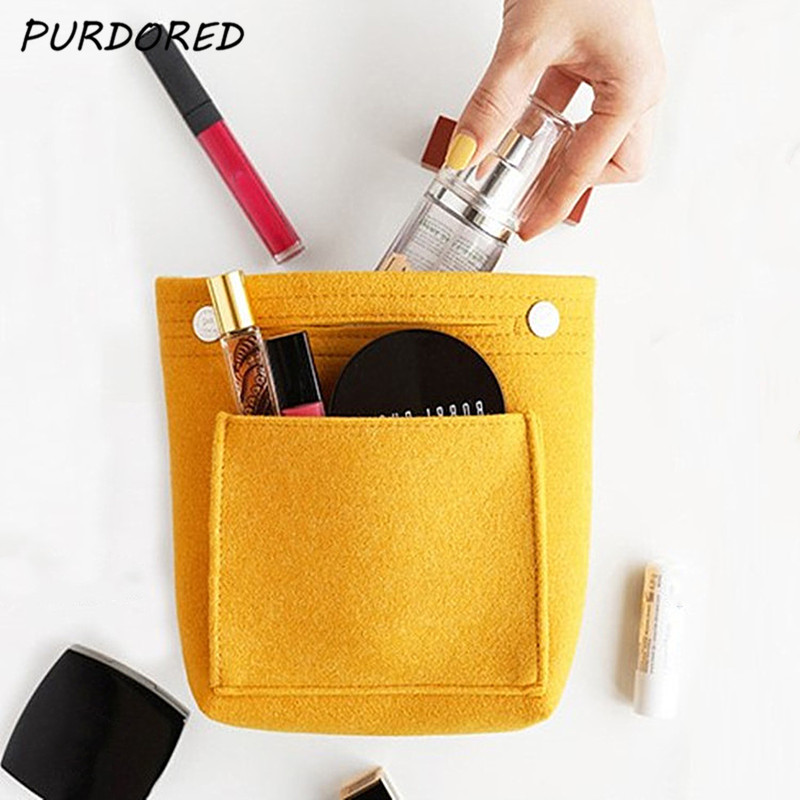 PURDORED 1 Pc Solid Color Cosmetic Bag Large Capacity Makeup Purse Travel Felt Bag Organizer Handy Handbag In Bag Cosmetiquera