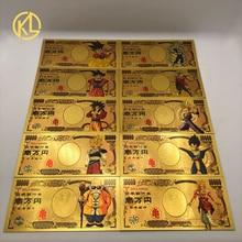 Горячая 1 шт. Японский дракон мультфильм 10000 иен золото пластиковые банкноты для классической детской коллекции памяти