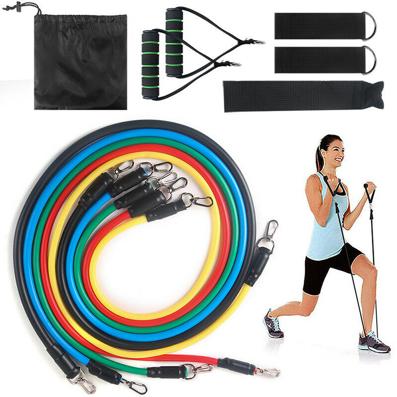 11 PCS Yoga Pilates Resistance Band Set Abs Exercise Fitness Tube Workout Bands