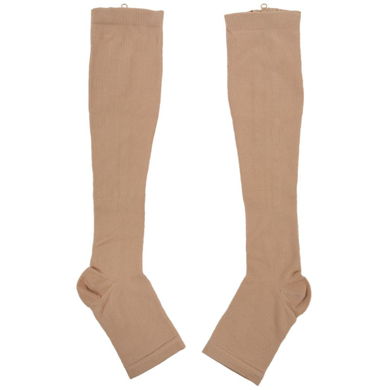 Increasing Circulation Compression Knee Socks Leg Support Stockings Beige S