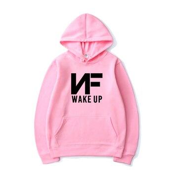 2020 NF WAKE UP Harajuku Warm Print Sweatshirt Men and Women Hoodie Loose Hoodie Sweatshirt Casual Sportswear Pullover casual cross at back sleevless hoodie sweatshirt in grey
