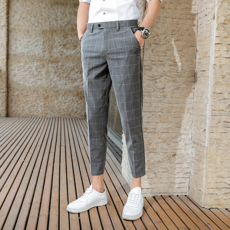 2020 Suit Pants Summer Male Plaid Business Casual Nine Points Suit Pants Men's Trousers Men Plaid Slim Nine Points Suit Pants