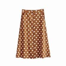Винтажная юбка в горошек для женщин, корейская мода, женская юбка миди, бохо, с карманами, на пуговицах, юбки