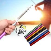 1m/1.4m portátil dobrado caneta fonte vara de pesca telescópica mini bolso vara de pesca pólo com fiação carretel roda