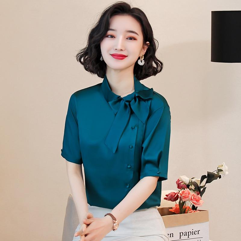 Korean Silk Women Blouses Women Satin Bow Blouse Tops Offfice Lady Short Sleeve Shirt Top Plus Size Blusas Mujer De Moda 2020