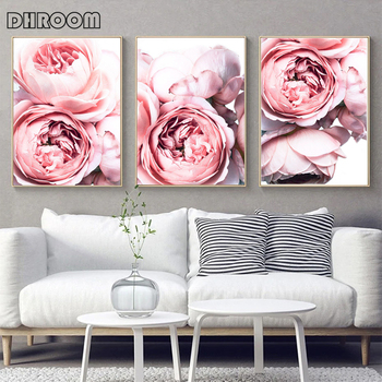 Pink Flower Print Blush Pink Peonies Wall Art Poster Peony Canvas Painting Modern Home Decoration Picture for Living Room perfume fashion poster eyelash lips makeup print canvas art painting pink flower wall picture modern girl room home decoration