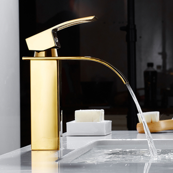 Deck Mount Waterfall Bathroom Sink Basin Faucet Vanity Vessel Sinks Mixer Tap Cold And Hot Water Tap Single Handle Basin Faucet free shipping golden white basin mixer faucet single handle bathroom pull out vanity sink faucet hot and cold tap