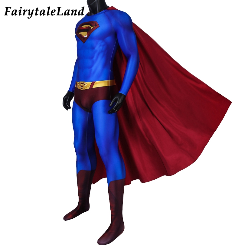 Superman Returns Cosplay Carnival Halloween Superhero Jumpsuit Superman Costume Clark Kent Outfit