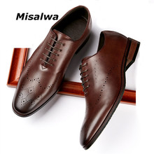 Dress-Shoes Oxford Brogue Misalwa Business Wedding Wing-Tip Mens PU Rubbing Fashion Red-Suit
