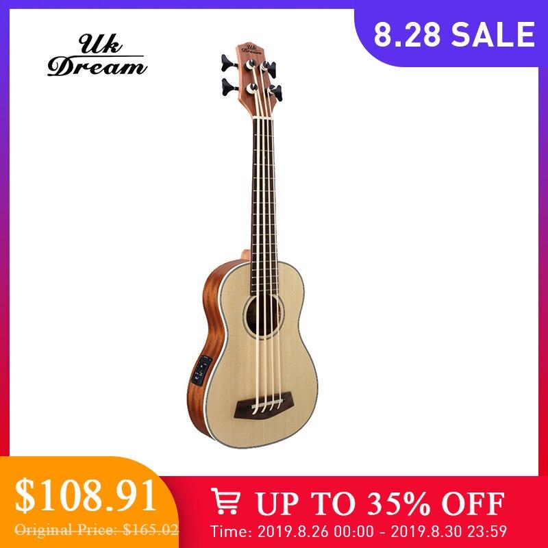 Polegada De Madeira 30 Electrica Guitarra Baixo 4 Picea Asperata U Baixo ukulele cordas Ukulele Instrumentos Musicais Profissional UB-513