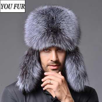 2021 New Men Outdoor Winter Natural Real Fox Fur Bombers Hats Warm Soft Quality Real Raccoon Fur Cap Real Sheepskin Leather Hat