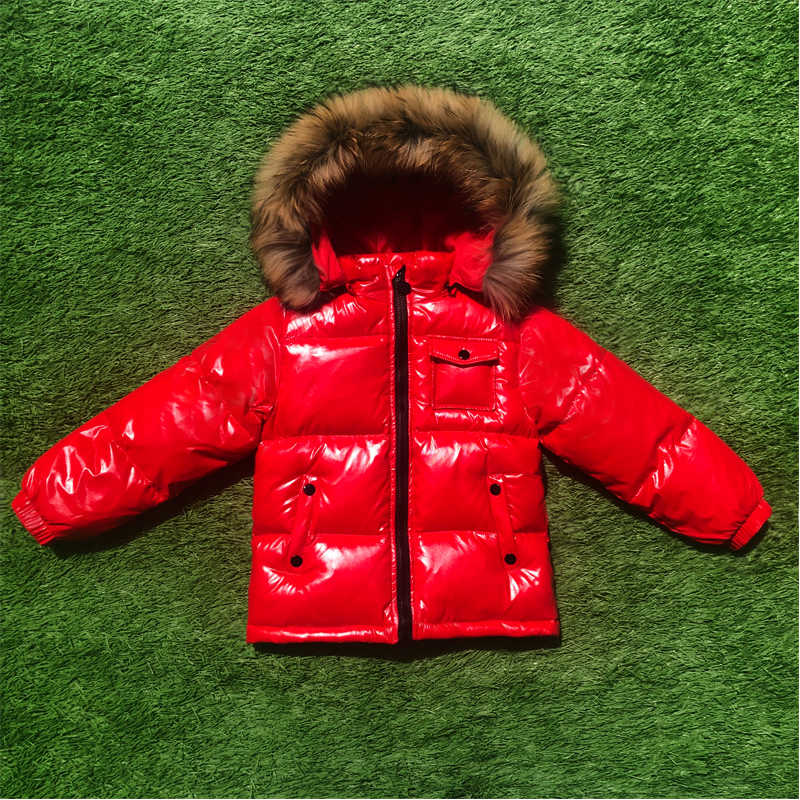Kids Winter Shiny Duck Down Coats with Fur Boys GIrls Thicken Hooded Jacket Russian Outerwear Parka Children Snowsuit SKi Outfit