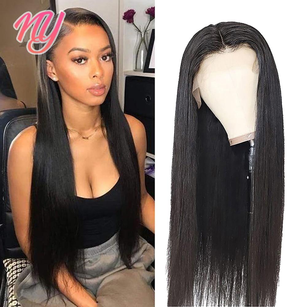 NY прямой прозрачный застежка спереди человеческие волосы для женщин 13X4 фронтальной 4X4 застежка индийские волосы парики 10, 12, 18, 22 дюйма кости