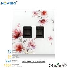 цена на NOVSKI RJ45 Computer Tel RJ11 TV Antenna Acrylic Wall Switch Data Socket With Flowers Pattern, EU Standard 86*86 mm Wall Socket