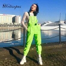 Helisopus Neon Green Overalls for Women Clothing Shoulder Chain Buckle Pocket Casual Romper Women