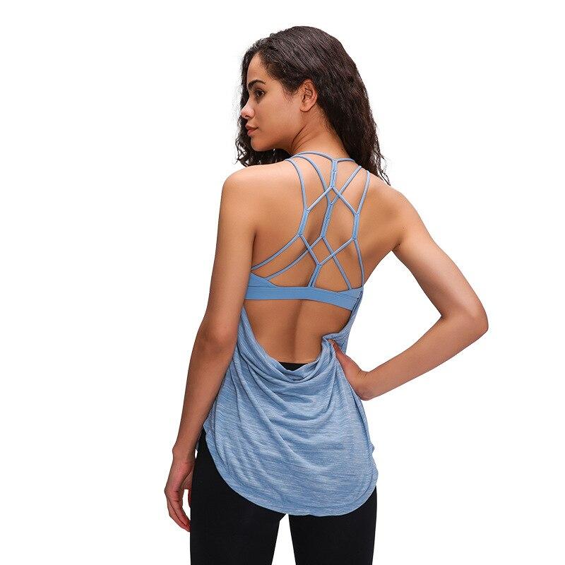 Yoga com Tiras Sutiã sem Mangas Mulheres Camisa Aberta Costas Embutidas Ginástica Secagem Rápida Fitness Corrida Esportes Regata Superior