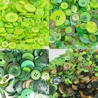 600 шт 2 отверстия/4 отверстия круглые пластиковые пуговицы зеленая серия Разноцветные полимерные пуговицы, аксессуары для одежды DIY