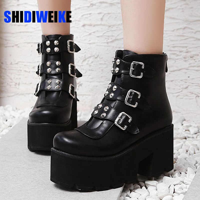 Punk Womens Zip Combat Over High Block Heel Leather  Platform Winter Ankle Boots