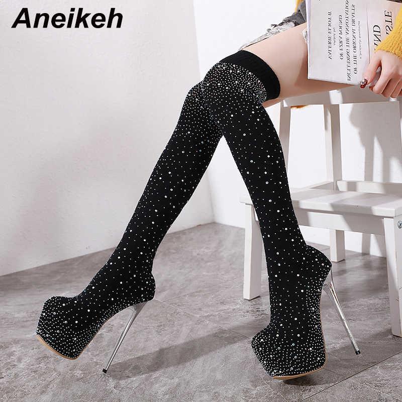 Aneikeh 2020 moda kryształ rozciągliwe skarpety platformy buty Pointy Toe Over-the-Knee 16CM obcas zakolanówki klub nocny buty
