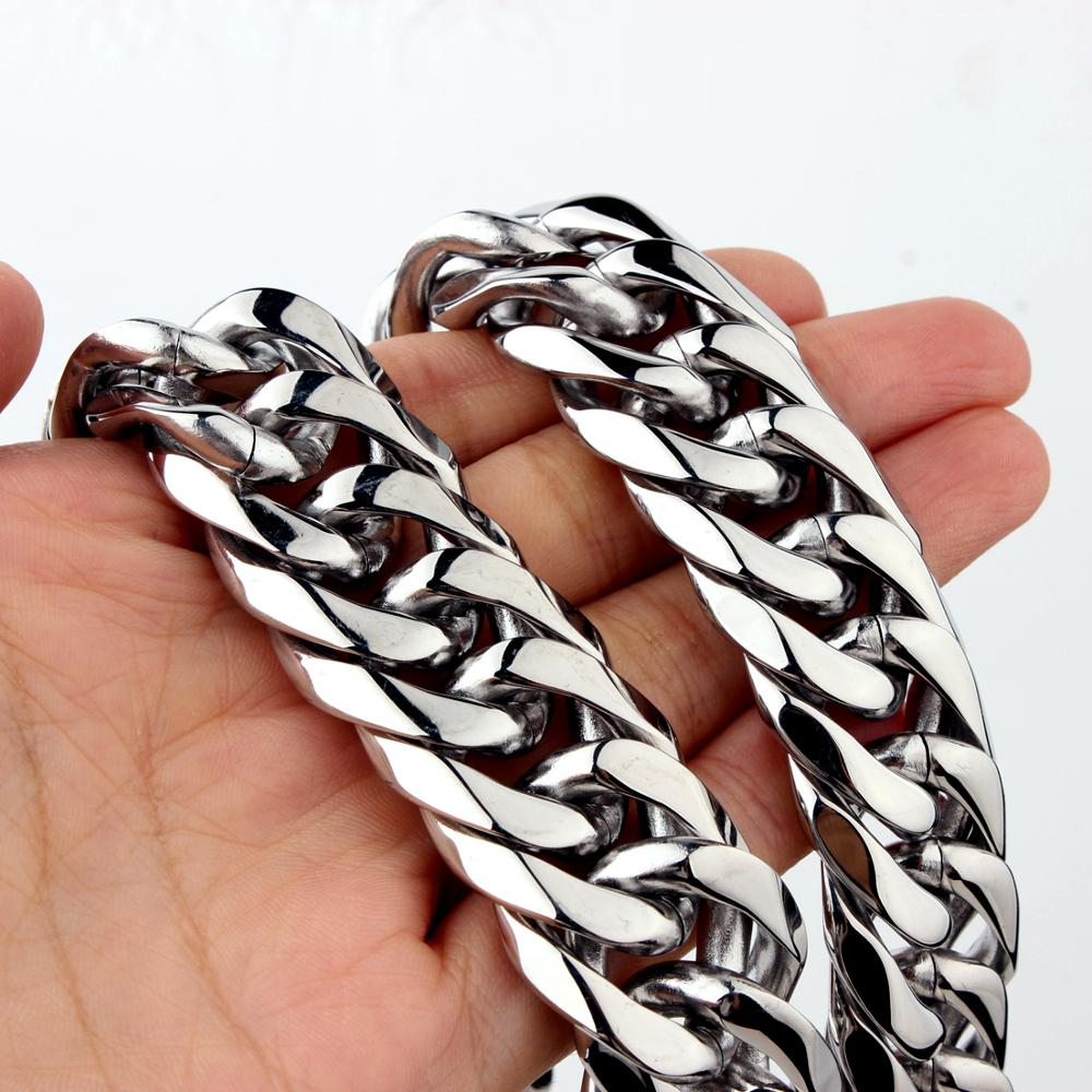 16/19/21mm Heavy Stainless Steel Necklace Mens/Womens Curb Cuban Link Chain Necklaces Fashion Jewelry 7-40inch