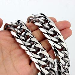 16/19/21mm Stainless Steel Heavy Mens  Curb Cuban Chain Necklace 16