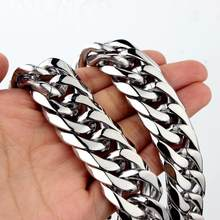 Collier en acier inoxydable pour hommes, chaîne cubaine avec bordure lourde, 16/19/21mm, de 7 à 40 pouces