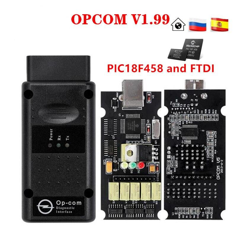 Opcom v1.99 v1.78 v1.70 v1.59 obd 2 can-bus leitor de código para opel op com OP-COM obd2 scanner diagnóstico pic18f458 ftdi chip