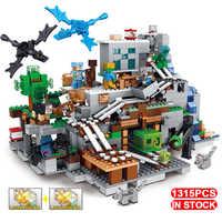 Led compatível legoinglys casa da árvore minecrafted aminals figuras mecanismo montanha caverna meu playmobil mundo blocos de construção brinquedos