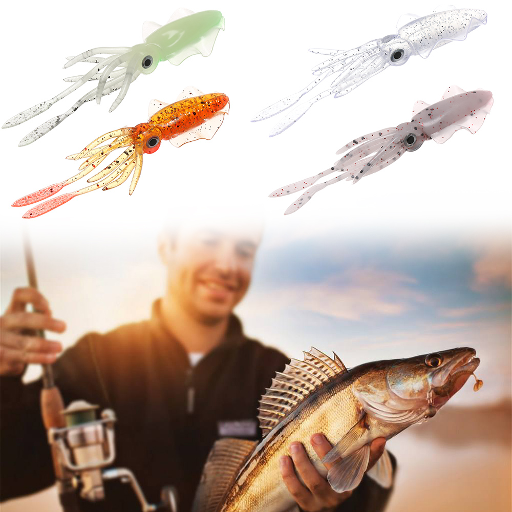 Artificial Squid Skirt Lure Fishing Tackle Saltwater Octopus Bait long tail