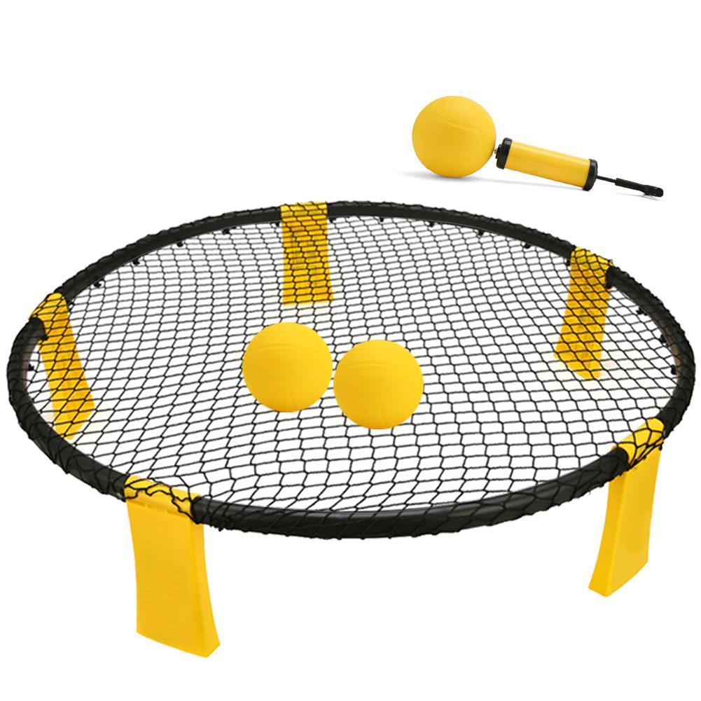 Новый мини пляжный волейбол Спайк Набор для игры в мяч открытый командный Спорт Spikeball газон фитнес оборудование с 3 мячиками волейбольная сетка