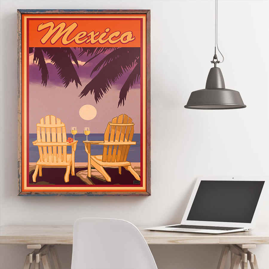 มือวาดเม็กซิโกฤดูร้อนโปสเตอร์ทิวทัศน์ธรรมชาติกระดาษคราฟท์ Retro Wall สติกเกอร์บาร์คาเฟ่ Home Decor ห้องนั่งเล่น 42x30 ซม.
