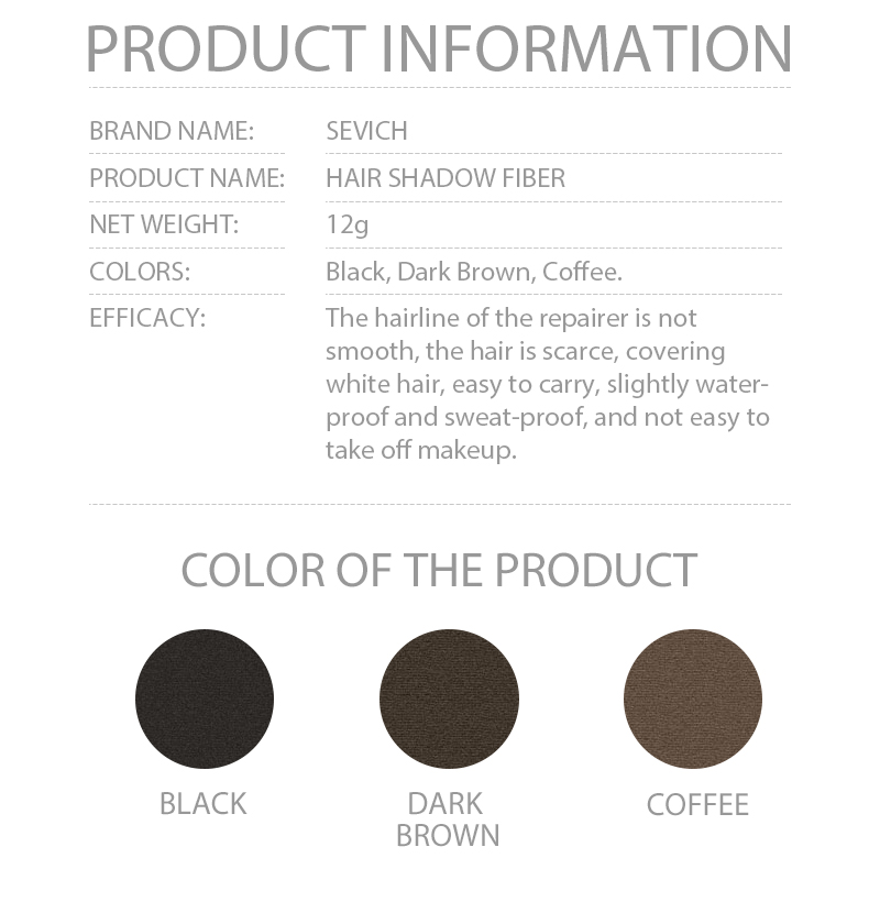 Text - Sevich 3 Colors 12g Hair Shadow Powder Waterproof Hairline Edge Control Powder Root Cover Up Dark Brown Hair Concealer With Puff