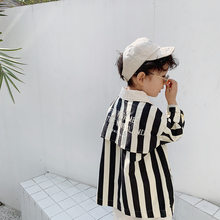 Boys girls back letters embroidery striped trench jackets Spring kids loose casual double-breasted long coats(China)