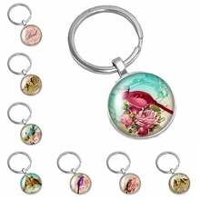 2019 New Best Selling Handmade Oil Painting Art Bird Colorful Pattern Series Glass Convex Round Keychain Popular Jewelry Gift
