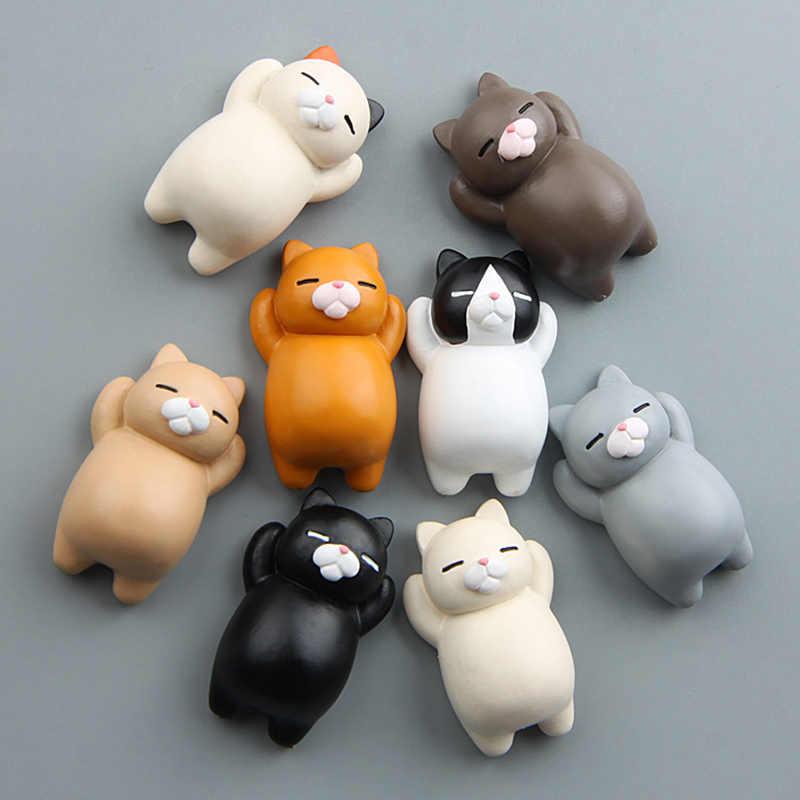 Dessin animé de chat réaliste japonais, fermoir magnétique en 3d créatif bâton de réfrigérateur, dessin animé de chat mignon, cadeau de décoration pour la maison