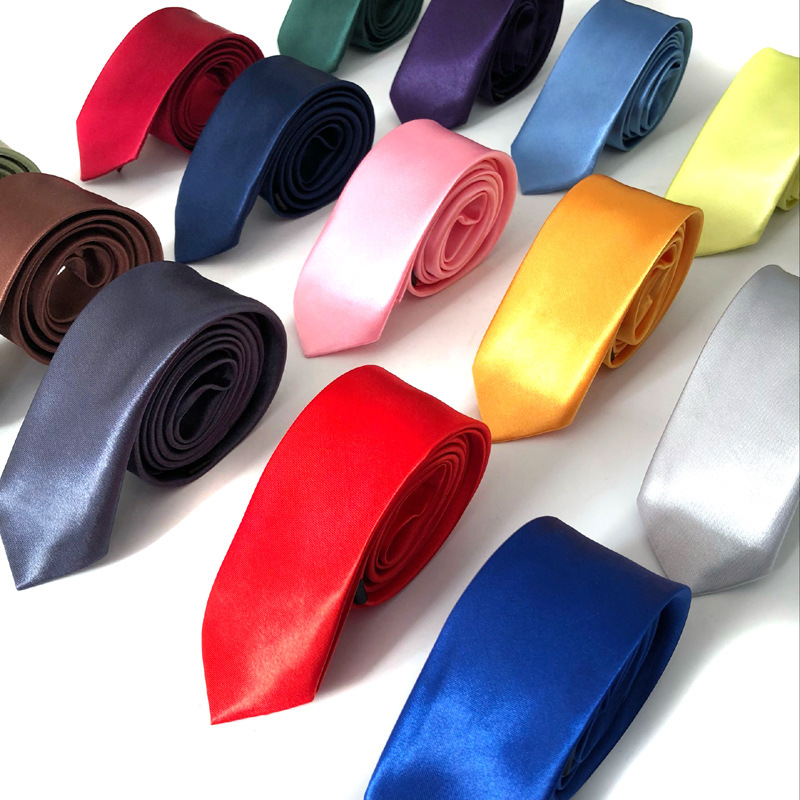 Solid Color Tie 5cm Men's Casual Korean Version Of Narrow Polyester Ties For Men One Size