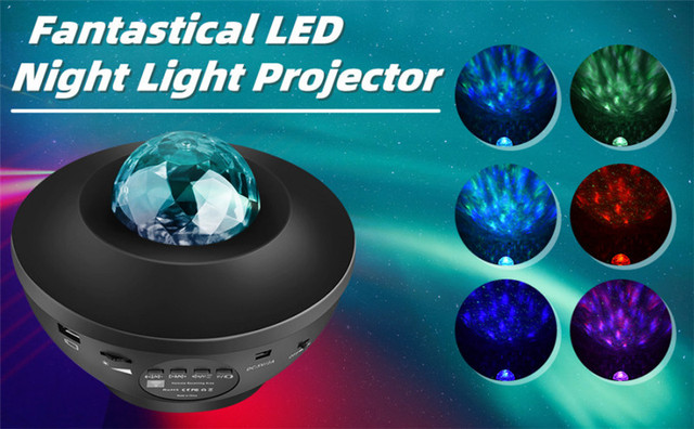Océan vague projecteur LED LED veilleuse lecteur de musique à distance étoile rotative veilleuse Luminaria pour enfant chambre scène laser LED