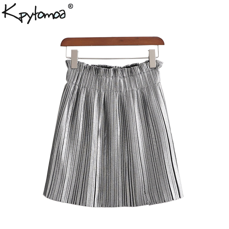 Vintage Elegant Solid Pleated Shorts Skirts Women 2019 Fashion Paperbag Elastic Waist Stylish Skorts Pantalones Mujer
