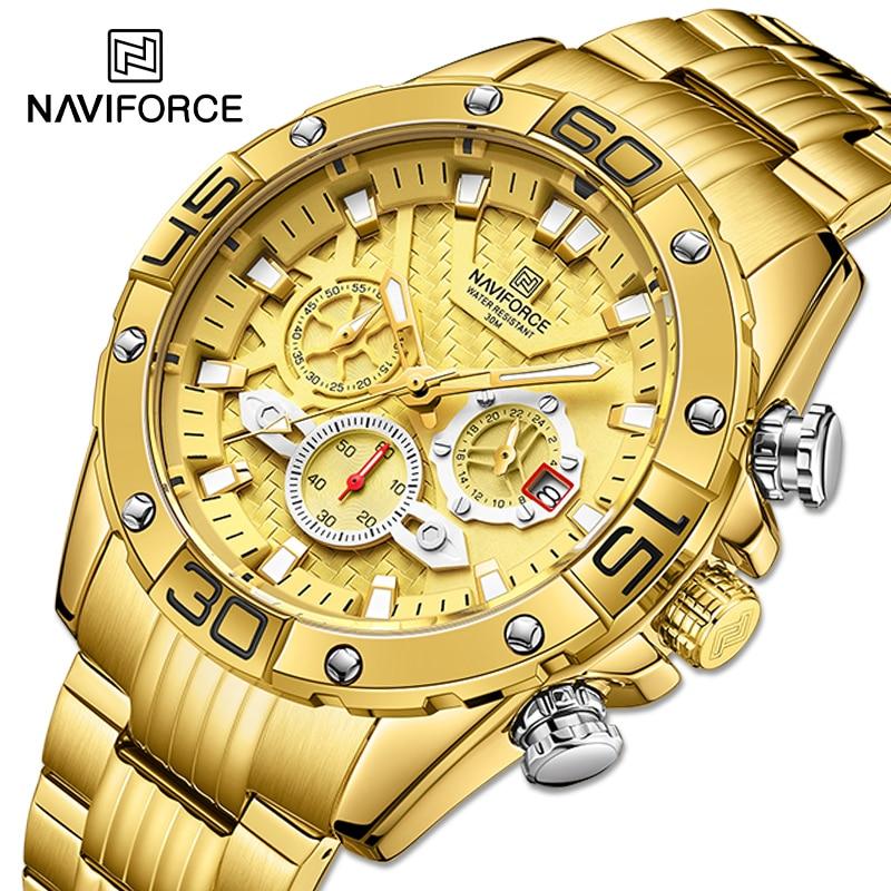 NAVIFORCE мужские часы 2021 роскошные золотые Бизнес Классические кварцевые часы аналоговый хронограф спортивные водонепроницаемые Стальные на...