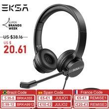 EKSA auriculares H12E con cable ENC para oficina, dispositivo de audio con cancelación de ruido y micrófono para Skype/ Webinar/Call Center Gaming