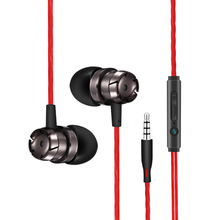 metal in ear bass earphones WS001 Stereo music wired earbuds handsfree with micr