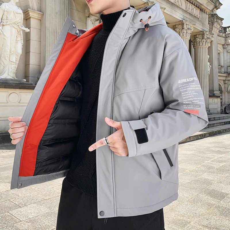 TFETTERS 2020 kış ceket erkekler sıcak tutan kaban erkek rüzgar geçirmez kapşonlu ceketler dış giyim rahat palto sıcak erkekler paketi ceket