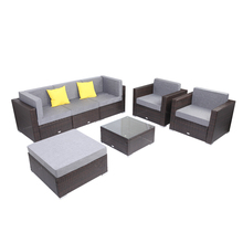 7 Pieces Patio PE Wicker Rattan Corner Sofa Set
