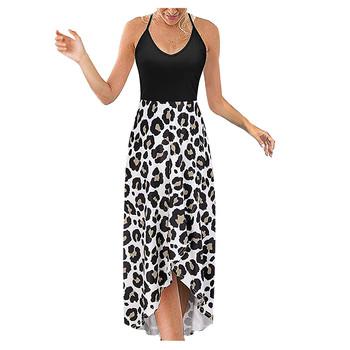 Casual czeski Maxi sukienka damski pasek sukienka z wycięciem na plecach dekolt bez rękawów seksowny nadruk sukienka letnia sukienka 2021 długa sukienka tanie i dobre opinie WHooHoo NONE w plażowym stylu POLIESTER CN (pochodzenie) Naturalne Floral Kostek Proste Dla osób w wieku 18-35 lat Z okrągłym kołnierzykiem