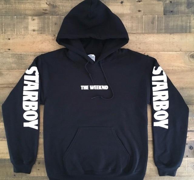 New winter fashion justin bieber sweatshirts men Starboy The Weeknd Tour Merch Black hoodie cotton fleece hoodie sweatshirt