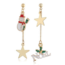 Brincos New Asymmetric Long Earrings With The Christmas Snowman Letters And Stars Sold Directly By Manufacturers In 2019