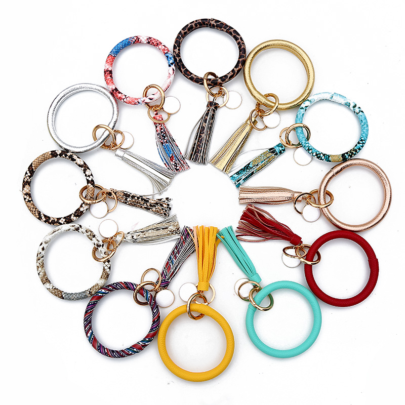 New Fashion Multicolor PU Leather O Key Chain Custom Circle Tassel Wristlet Keychains Women Girl Key Ring Jewelry Gift