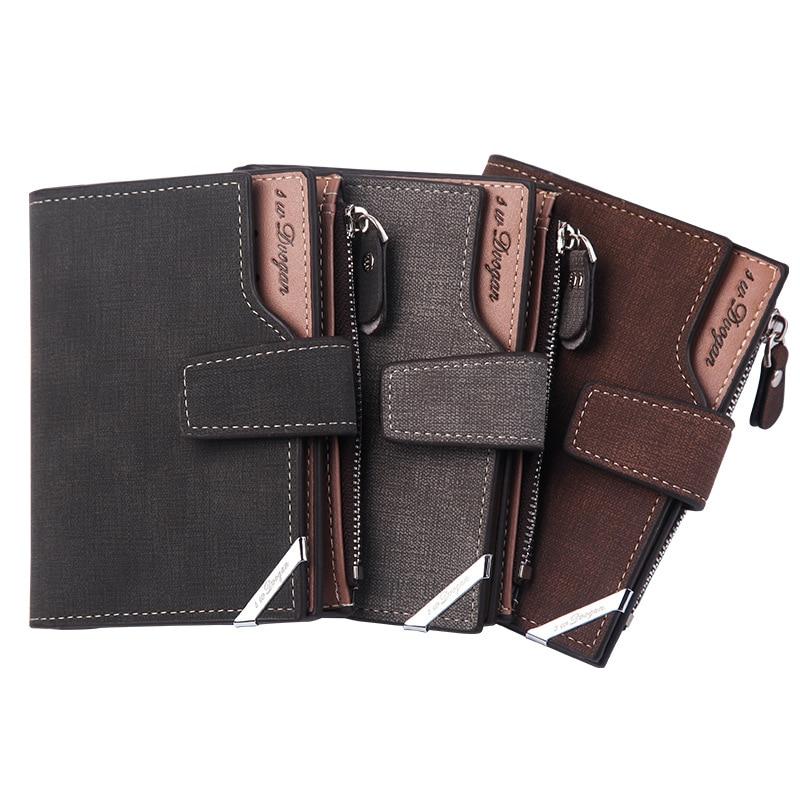 2020 New Korean Casual Men's Wallet Short Vertical Locomotive British Multi-function Card Bag Zipper Buckle Triangle Folding