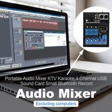 DJ аудио микшер профессиональный стерео Bluetooth запись микшерный пульт домашняя звуковая карта маленький USB KTV 4 канала портативный караоке