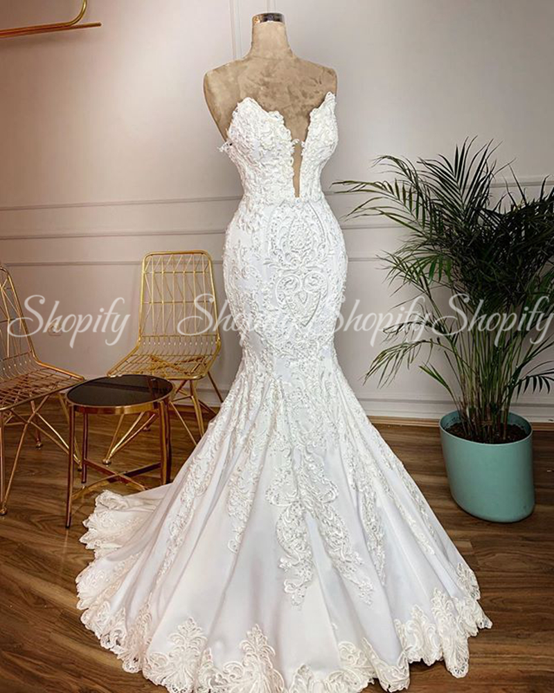 Sexy Sweetheart Mermaid Trumpet Bridal Wedding Gowns African Women White Lace Wedding Dress 2020